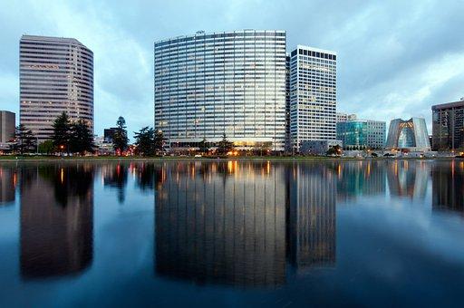 Oakland, California, Sky, Clouds, Buildings