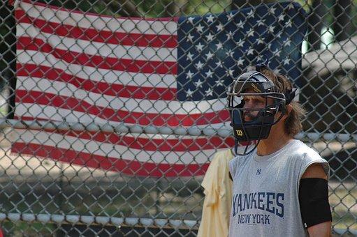 Man, Baseball, Sport, Flag, Amerikan, Central Park