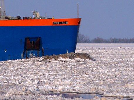 Seafaring, Ship, Ice, Elbe, Winter, Sea, Port, Boot