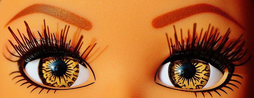 Eyes, Close, Beautiful, Pupils, Eyelashes, Brown, Doll