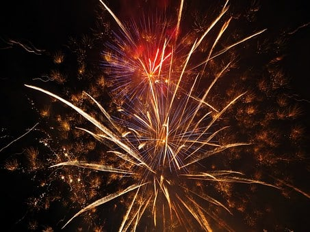 France, Festival, Light, Fireworks, 14 July, Nice