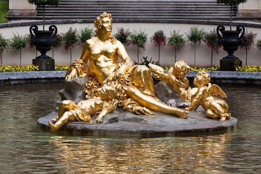 Sculpture, Gold, Gilded, Woman, Angel, Golden, Figure