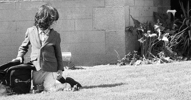 Child, Garden, Lawn, Solitude, On The Knees, Grass