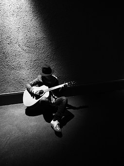 Guitar, Black And White, Japanese, Bruce