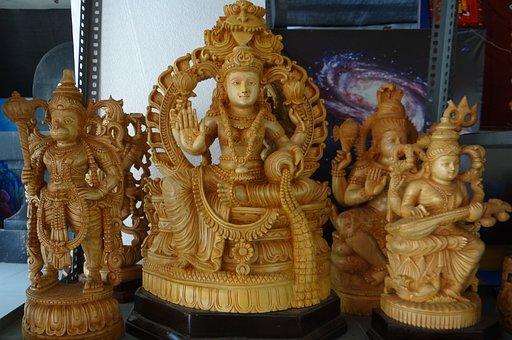 Handicrafts, Stall, Carved, Figures, Figurines, God