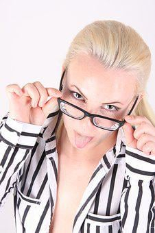Glasses, Girl, Young Woman, Hell, Blond, Funny, Cheeky