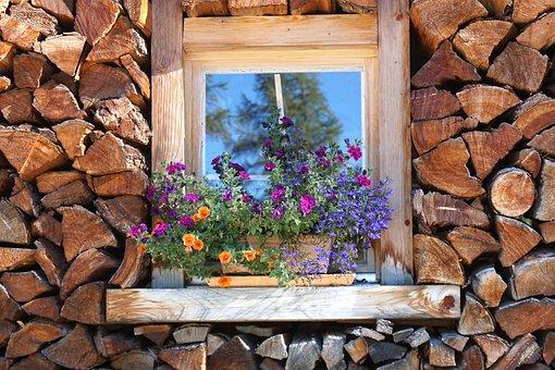 Holzstapel, Window, Stock, Firewood, Wood, Heat