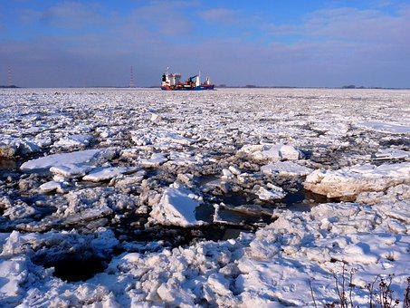 Ice, Ice Floe, Seafaring, Ship, Elbe, Port, Water