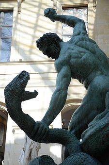 Statue, Louvre, Kill The Snake, Greek, Greek God