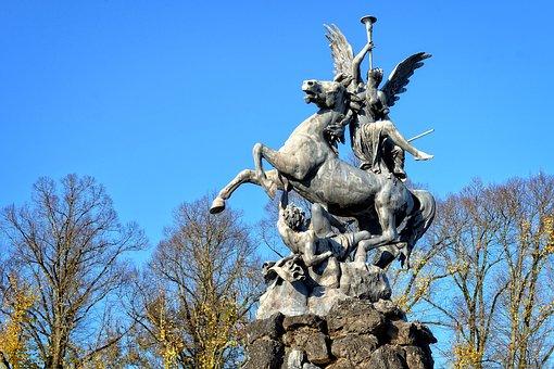 Statue, Monument, Fig, Sculpture, Horse, Angel, Man