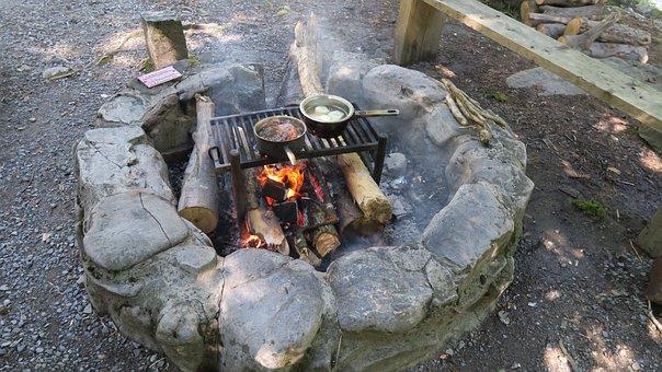 Fireplace, Fire, Embers, Flame, Wood, Heat, Pan