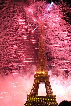 Eiffel Tower, Fireworks, Paris, Monument, Architecture