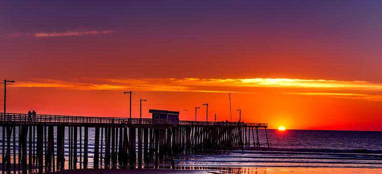 Pismo Beach, California, Sky, Clouds, Sunset, Colorful