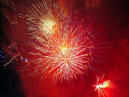 France, Festival, Fireworks, 14 July, Nice, Red, Blood