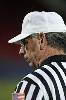 Referee, American Football, Stripes, Striped, White Hat