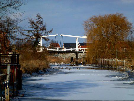 Winter, River, Old Country, Ice, Ice Floes, Bridge