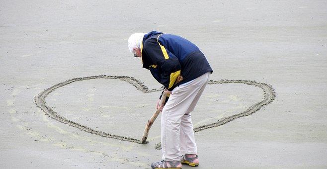 The Heart Of, Love, Valentine, Romantic, Beach, Old Man