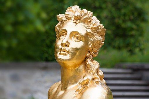 Sculpture, Gold, Gilded, Woman, Face, Golden, Figure