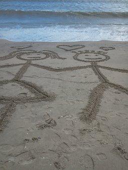 Love, Beach, Sea, Drawing, Sandy Beach, In Love