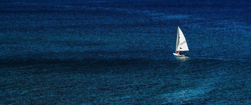Boat, Sailboat, Sea, Blue, Vastness, Sailing, Solitude