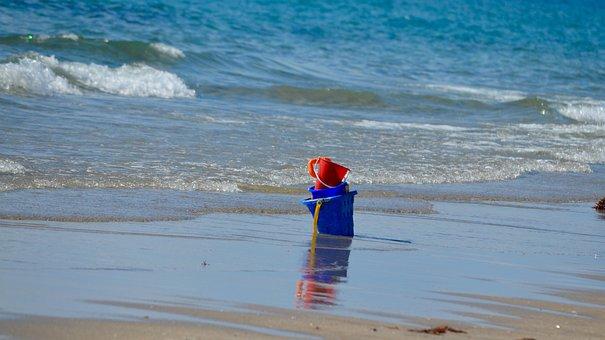 Beach, Sand, Solitude, Buckets, Waves, Sea, Seaside