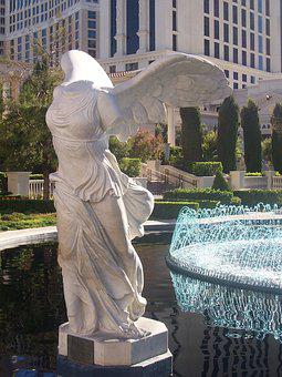 Nike, Sculpture, Statue, Fountain, Vegas, Victory