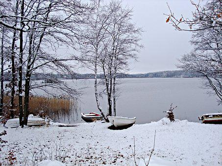 Wintry, Sweden, Lake, Boats Ashore, Reed, Snowy, Frosty