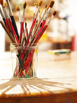 Writing Brush, Bottle, Art, Shadow, Paint, Foppery
