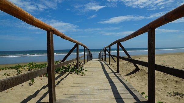 Ecuador, Puerto Lopez, Beach, Ocean, Water, Beached