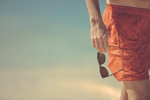 Man, Beach, Red, Shorts, Bermudas, Sunglasses, Holding