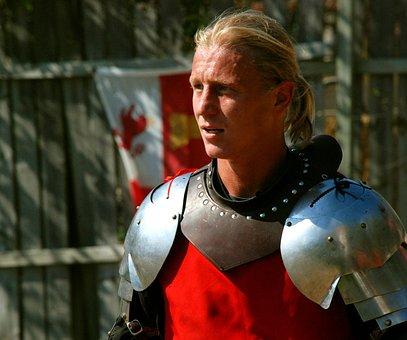 Knight, Blond, Portrait, Fighter, Armor, Medieval