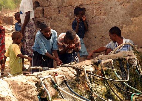 Nagad, Dijbouti, Children, Boys, Man, Water, Drinking