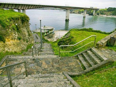 Stairs, Bridge, Ribadeo Sea Lugo