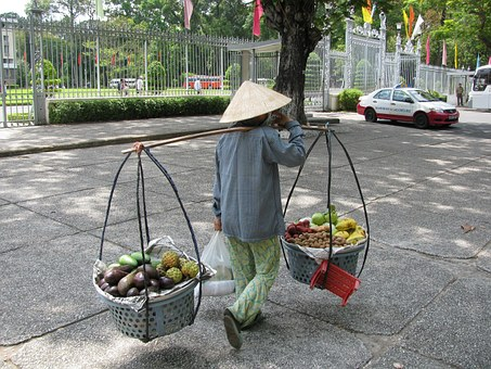 Indonesia, Woman, Working, Carrying Fruit, Baskets