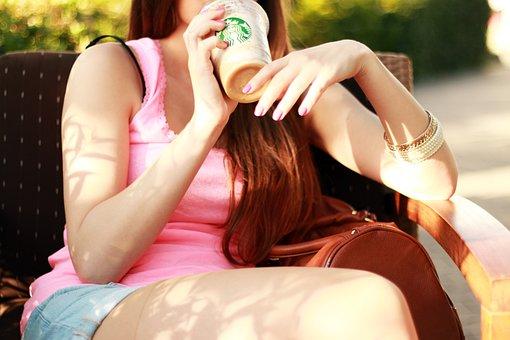 Starbucks, Drink, Enjoy, Cup, Woman, Girl, Sitting