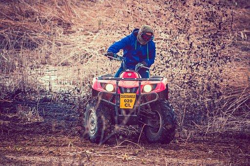 Boy, Fun, Engines, Sand, Mud, Water, Splash