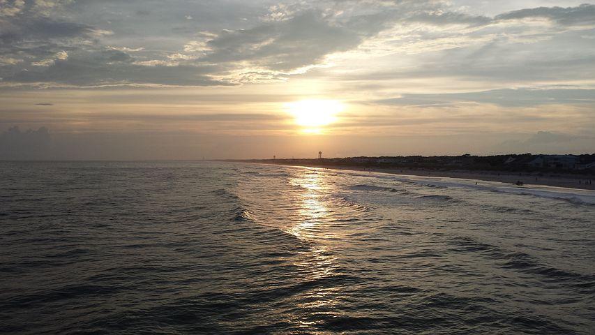 Oak Island, Lake, Beach, Ocean, Sunset, North Carolina