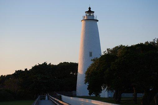 Ocracoke, Lighthouse, White, Outer Banks