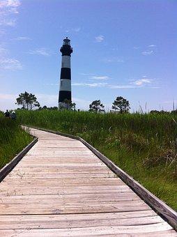 Lighthouse, North Carolina, Outer Banks, Beacon, Coast