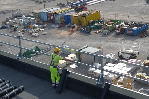 Worker, Industry, Roof, View, Work, Man, Hard Hat