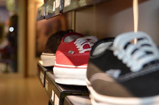 Shoes, Laces, Shop, Shopping, Shelf, Exhibition, Buy
