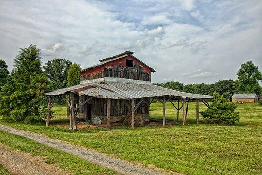 North Carolina, Barn, Farm, Rural, Lane, Sky, Clouds