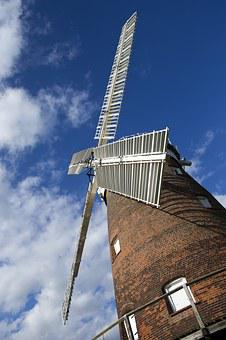 Thaxted, Essex, England, Restored Windmill, White Sails