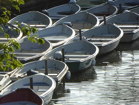 Boats, Water, Channel, Morning Sun