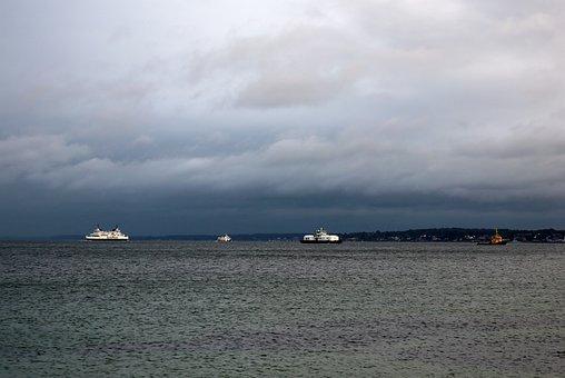 Sound, Helsingborg, Water, Evening, Boat, Hours, Sky