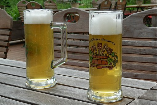 Beer, Beer Foam, Beer Glass, Beer Garden, Wood, Table
