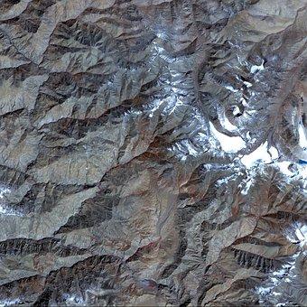 Aerial View, Satellite Image, Tibet, Map, Atlas, Land