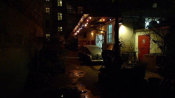At Night, Old Car, Germany, Berlin
