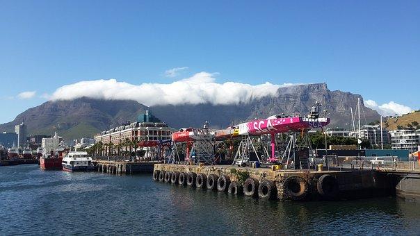 Table Mountain, Capetown, Yacht, Sky, Bay, Landmark