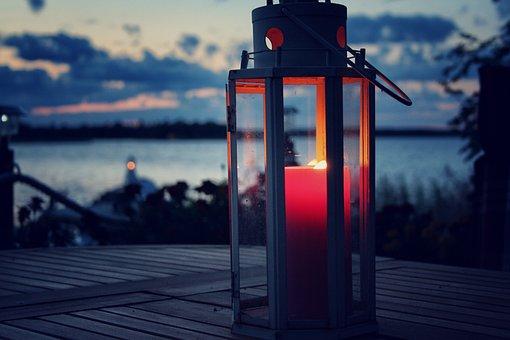 Candle Light, Candle, Lantern, Hazy, Sea, Clouds